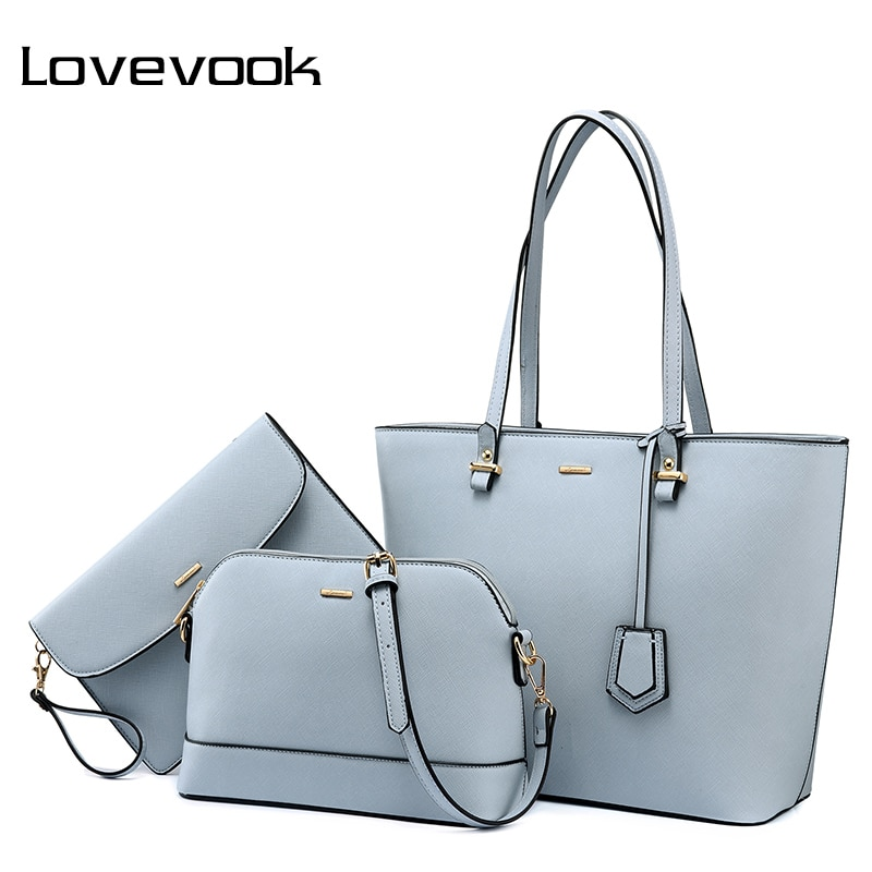 Lovevookバッグセットショルダーcorssobody女性のハンドバッグ高品質puの女性メッセンジャーバッグ女性財布スクールバッグ 2020