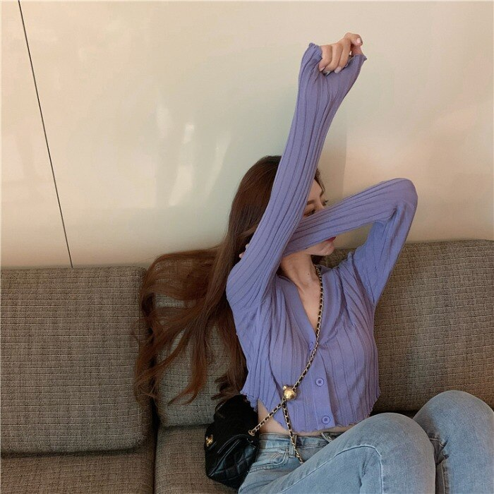 Ppshd Spring Korean Style Skin Slimming Ice Silk Sweater Sun Protection Cardigan Long Sleeve Short V