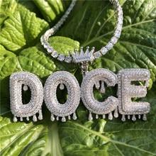 Personnalisé couronne Bail goutte à goutte bulle lettres initiales chaîne colliers et pendentif pour hommes femmes couleur or cubique Zircon Hip Hop bijoux