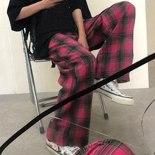 Women's Loose All-Matching Straight Retro Plaid Casual Summer Korean Style Ins Super Popular Wide-Le