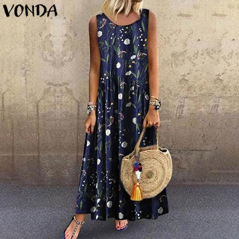 VONDA Summer Maxi Dress Women Sundress 2020 Vintage Floral Printed Pleated Tank Dresses Sleeveless Sundress Plus Size Vestidos
