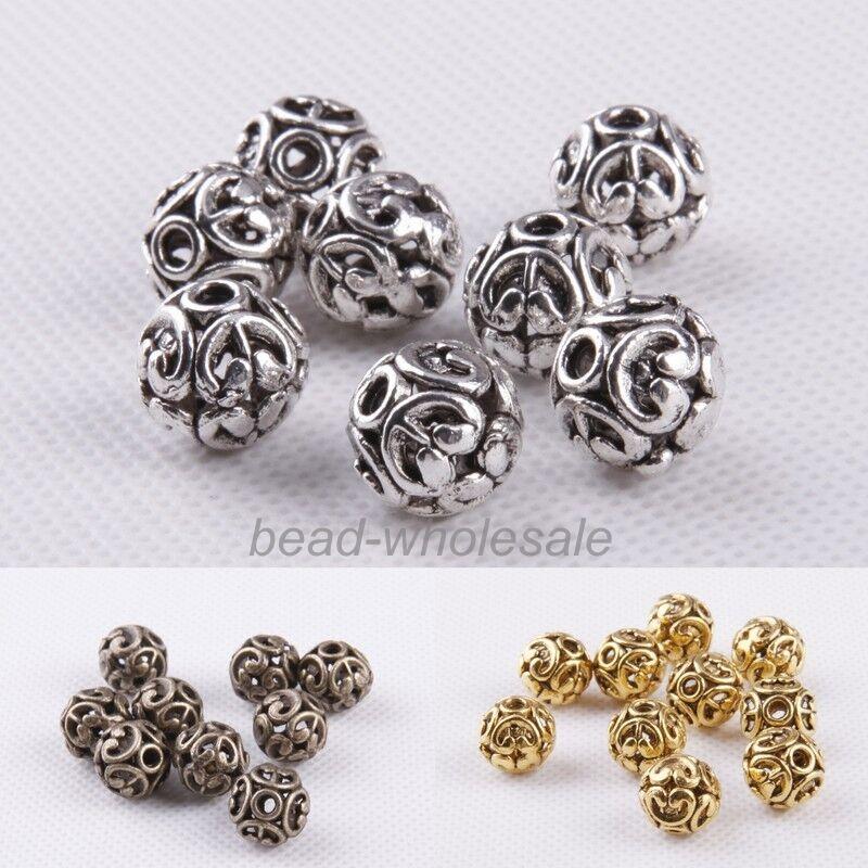 10 unids/lote 12mm plata de moda/oro/bronce ronda de plata tibetana en forma de cuenta espaciadora hueca para la fabricación de joyas