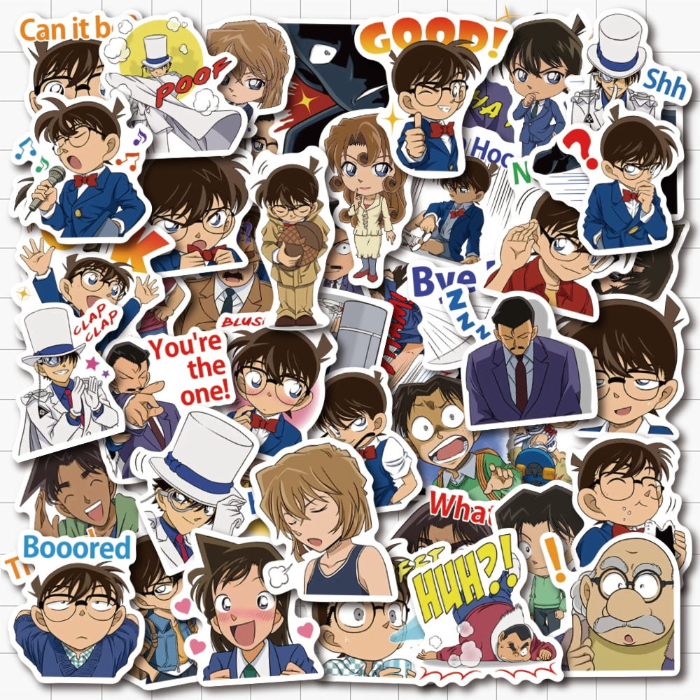 New 50 Piece Detective Conan Cartoon Sticker Cover Waterproof PVC Decal For Laptop Macbook Pro Bicycle Luggage Guitar Phone Case