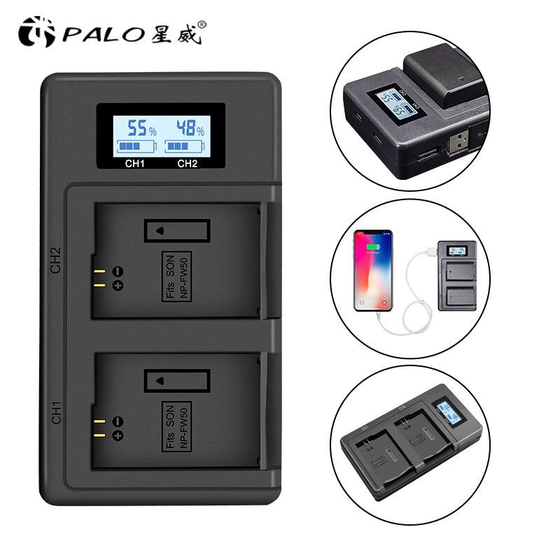 NP-FW50 npfw50 fw50 cargador de batería de cámara USB LCD cargador rápido...