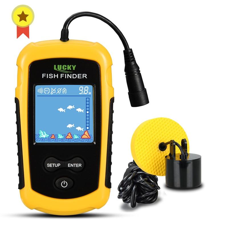 FFC1108-1 إنذار 100 متر المحمولة سونار الأسماك Finders الصيد إغراء صدى أسلم الصيد مكتشف إنذار محول بحيرة البحر الصيد