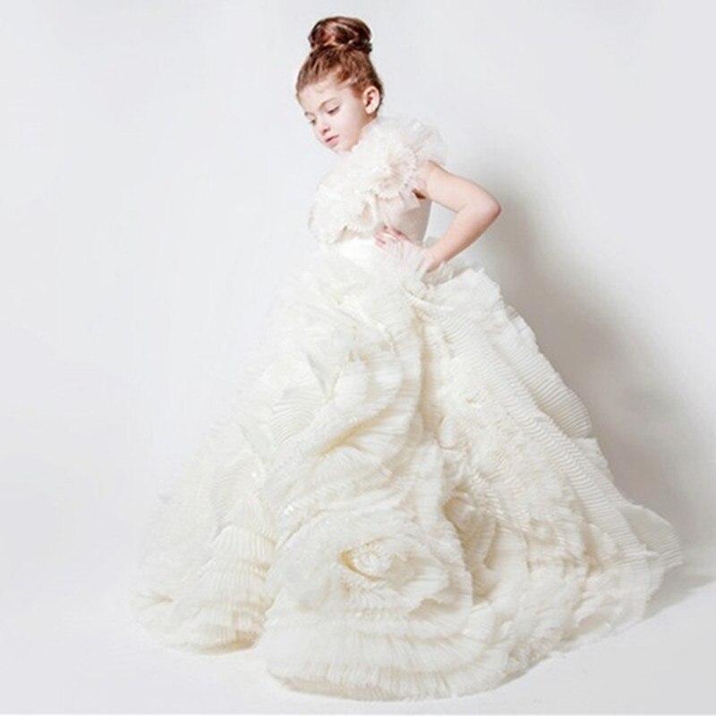 فستان حفلات الزفاف من الأورجانزا العاجي الساحر ، ذيل محكمة ، بدون أكمام ، ثوب حفلة للأطفال ، شتاء دافئ ، رقبة عالية ، فستان فتاة الزهور