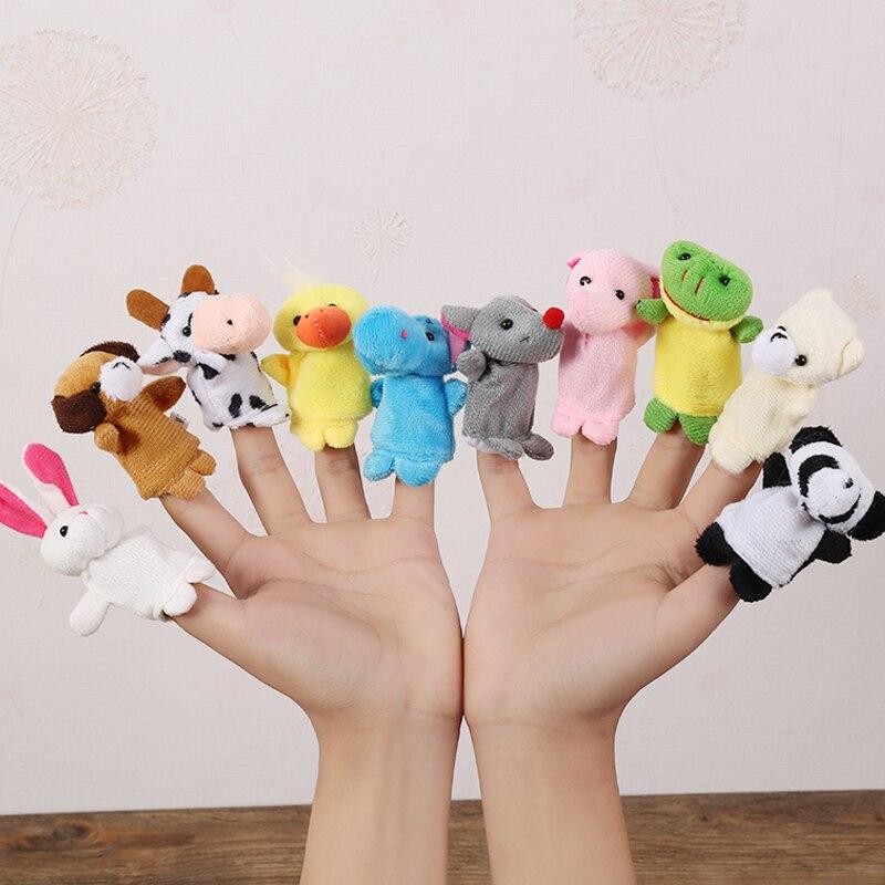 12 шт. детские плюшевые игрушки, Мультяшные животные, семейные пальчиковые куклы, ролевые игры для детей, детские подарки, плюшевые игрушки, п...