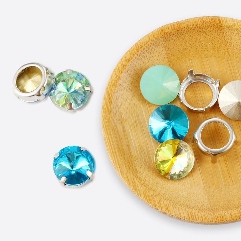 Colorido redondo Rivoli forma cristal K9 coser en diamantes de imitación con piedras de garra de plata para decoración de ropa joyería diamante