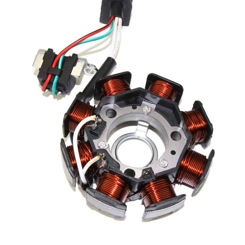 High Quality Aluminum alloy Motorcycle 8 Poles Magneto Ignition Stator Coil Generator Fit For Yamaha RS100 JOG100 high speed motorcycle rotor magneto kits stator coil for yinxiang lying 150cc and 160cc engine motor accessories