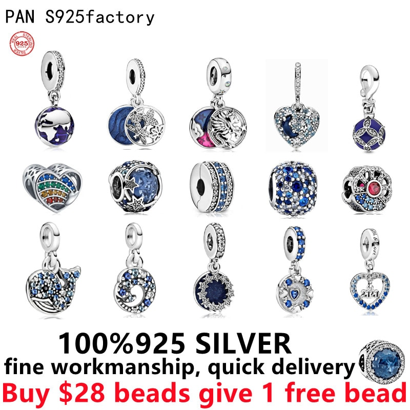 Free Delivery 925 Sterling Silver Suitable Diy Pando Bead Blue Love heart Dangle charms for this bracelet Women jewelry