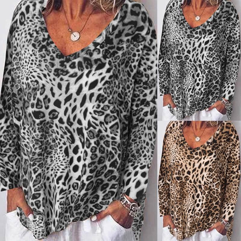 Zanzea mulheres leopardo imprimir blusa topos 2019 nova moda das mulheres casual manga longa solto blusas trabalho escritório túnica mais tamanho camisa