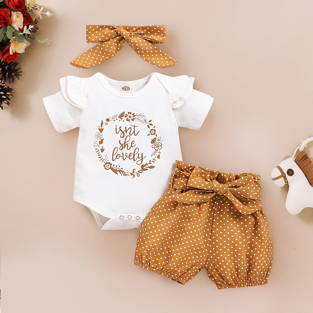 3-18Months Baby Clothes Newborn Baby Girls Ruffles Letter Print Bodysuit Romper+Dot Shorts+Headbands Outfits детская одежда W*