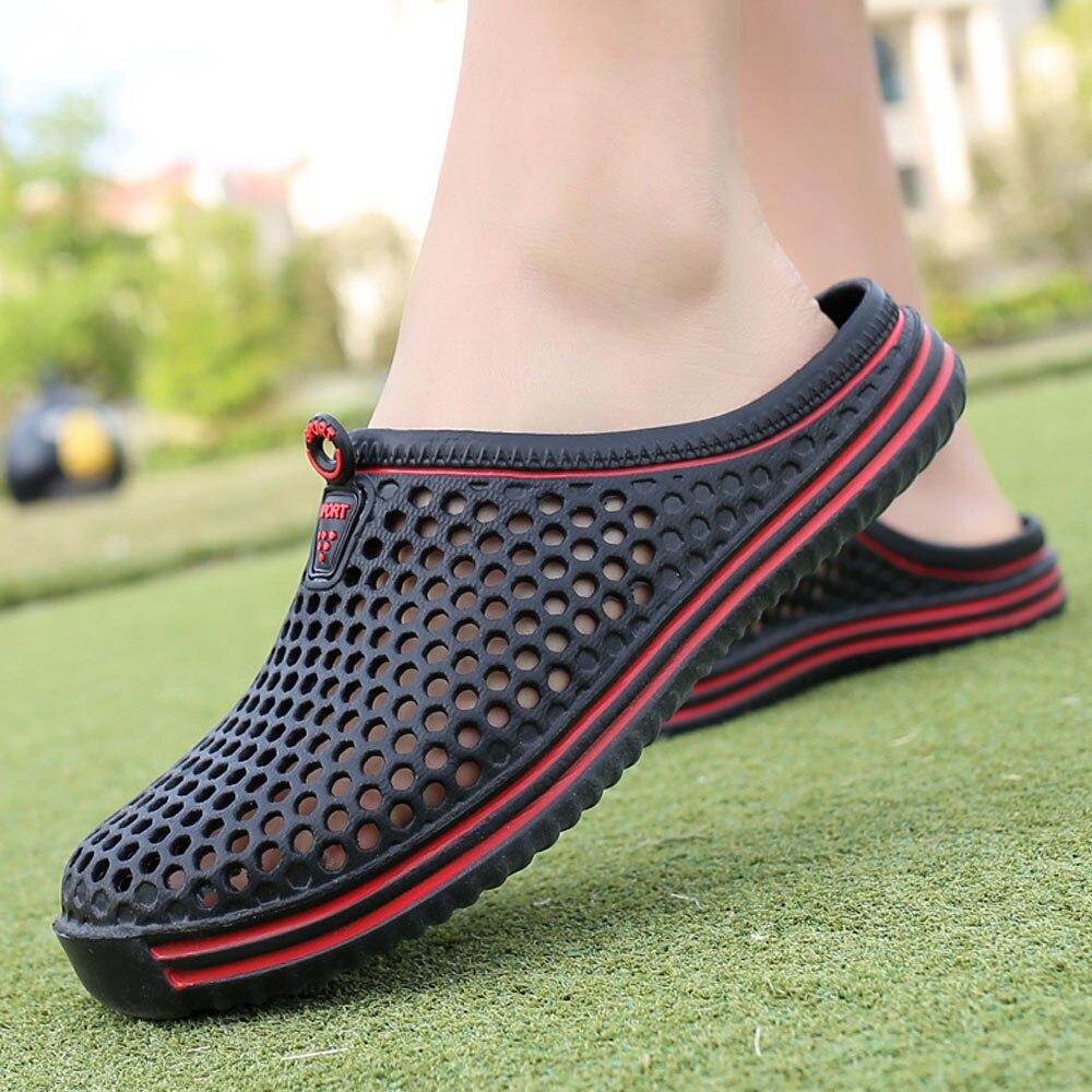 2021 Men Shoes Beach Casual Men's Slippers Unisex Hollow out Casual Couple Beach Sandal Flip Flops Shoes Non-slide Male Slippers