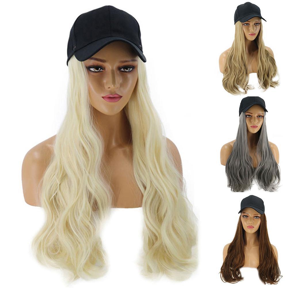 Feminino menina longa encaracolado peruca peruca sintética cabelo extensão com boné de beisebol design anti-deslizamento, manter-se firme em sua cabeça.