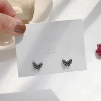 s925 silver needle niche retro small and versatile old butterfly earrings korean style simple net red earrings ear clips