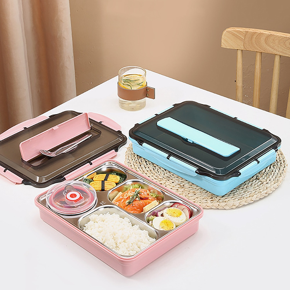صندوق غداء محمول من 5 قطع مع مقصورات ، صندوق غداء من الفولاذ المقاوم للصدأ للأطفال ، وعاء شوربة ، لوازم المطبخ