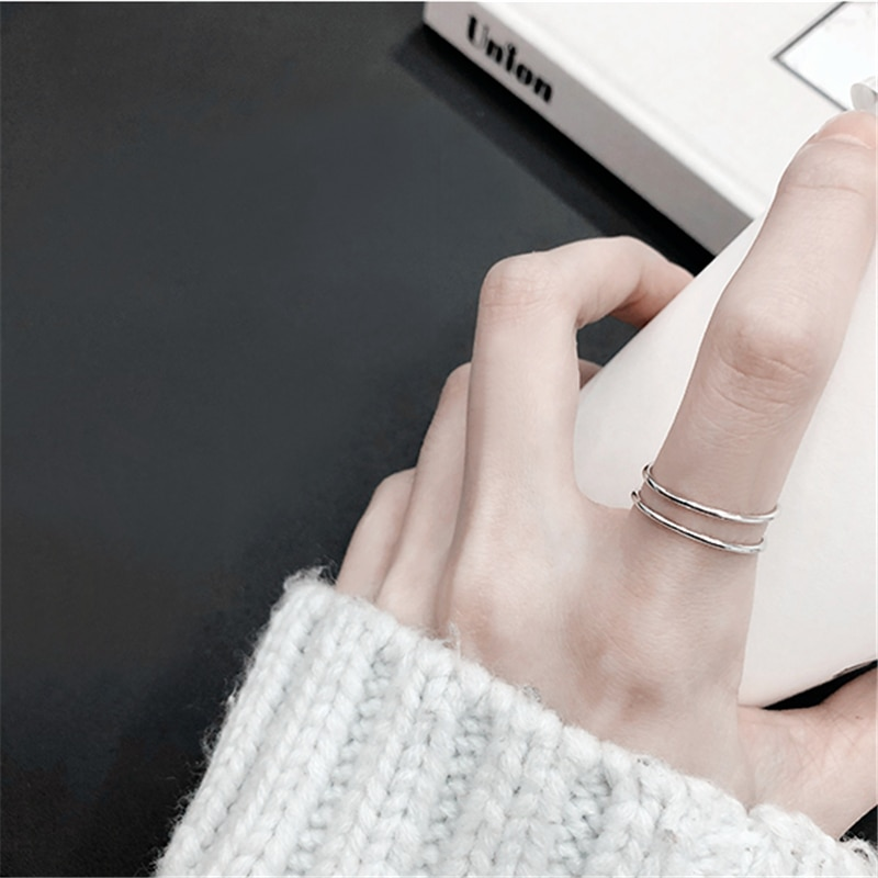 Laramoi 925 anillos dobles simples geométricos creativos de plata esterlina para mujeres encanto anillo de joyería ajustable regalo para niñas adolescentes