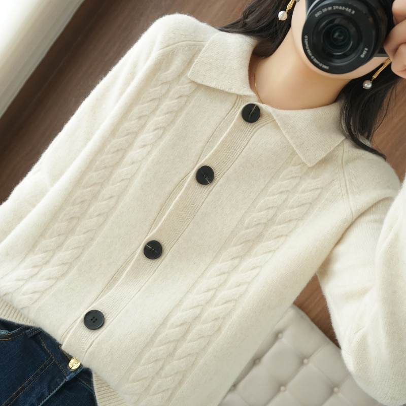 Women Clothes 100% Pure Wool Knitted Cardigans Winter 2021 Warm Thicker Jackets Turn Down Collar Loose Sweaters enlarge