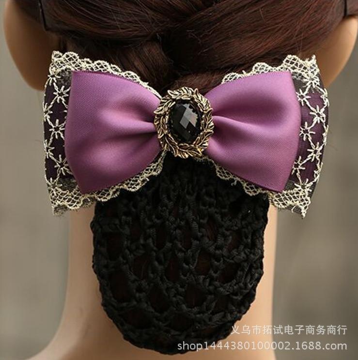 Women's Boutique Hair Net Hair Clip Flower Korean Bow Hotel White Collar Nurse Professional Lace Ribbon Fabric Handmade Gift