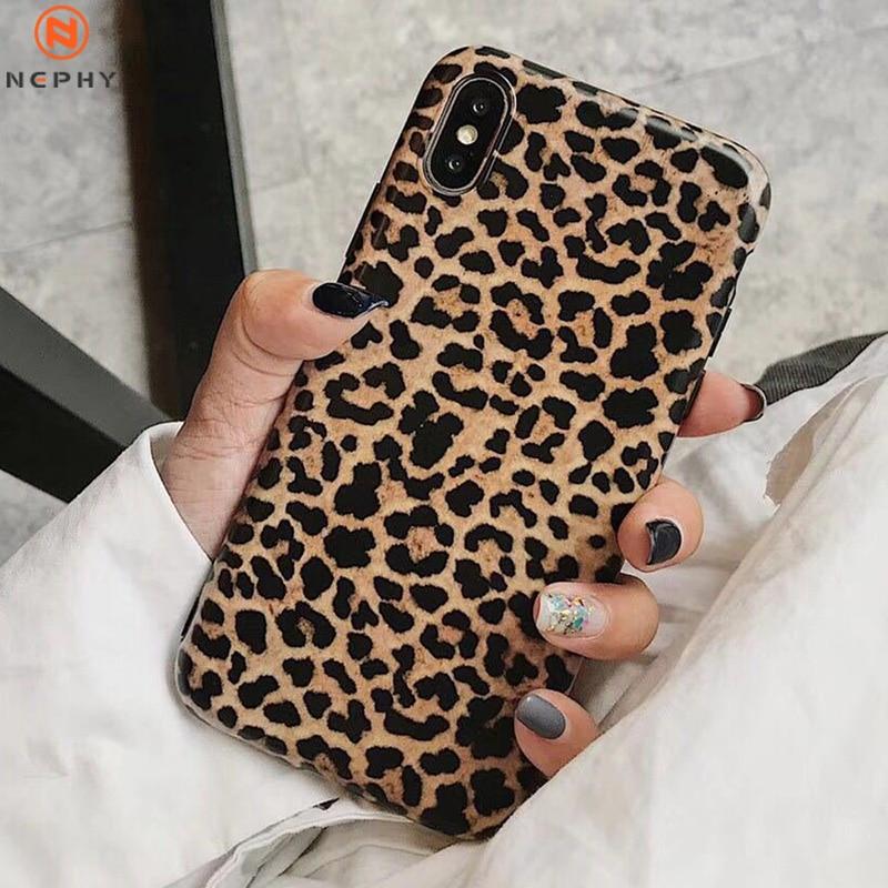 Funda de silicona de lujo suave para iPhone X XR XS MAX 7 8 Plus 6 S 6 S 6Plus 7Plus 8 Plus carcasa trasera i Phone leopardo Sexy