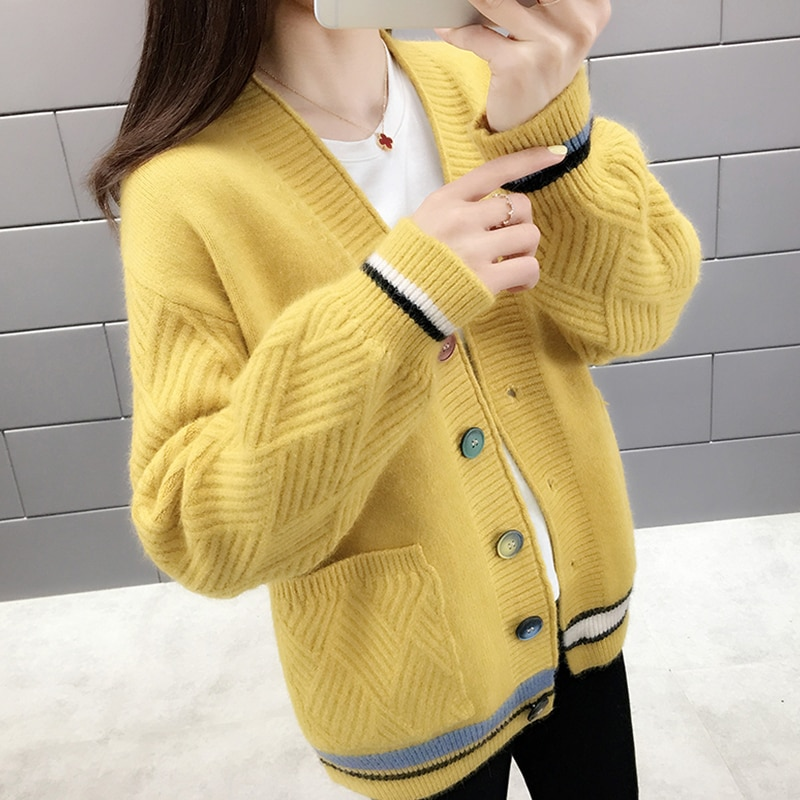2020 nueva primavera otoño mujeres Cardigan suéter coreano Casual de manga larga corto suéter tejido suelto Cardigans señoras Tops H241
