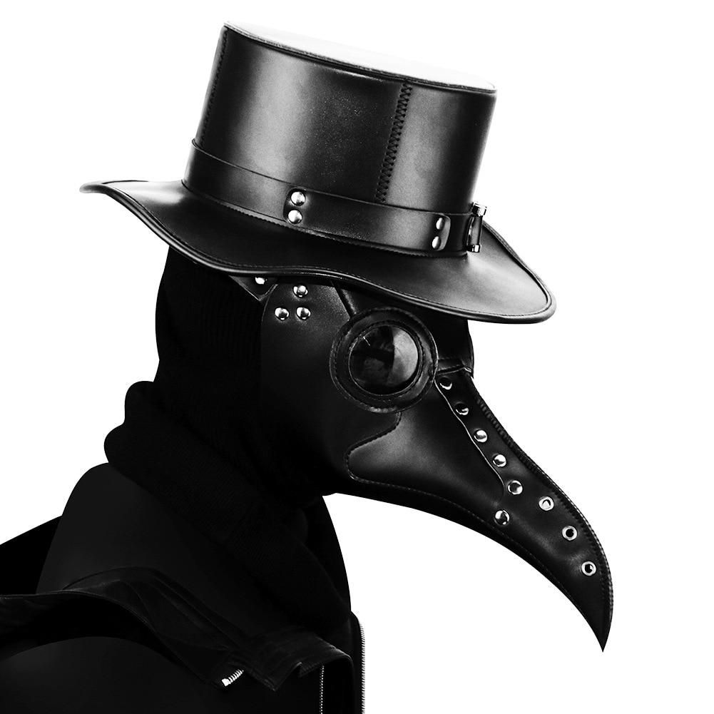 Длинная маска для носа с птицей, стимпанк, Хэллоуин, клюв, доктор, костюм, чума, кожа, черная, Death, косплей, готический карнавал для взрослых му...