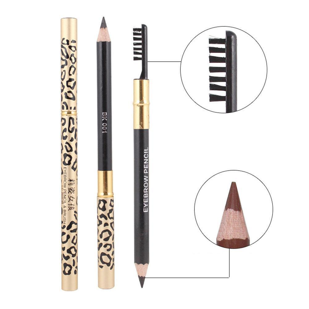 5 Colors Sexy Leopard Double-Head Eyebrow Pencil Brush Makeup Natural Professional Waterproof Long-L