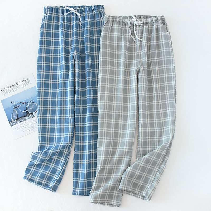 Men's Cotton Gauze Trousers Plaid Knitted Sleep Pants Mens Pajamas Pants Bottoms Sleepwear Pajama Short for Men Pijama Hombre