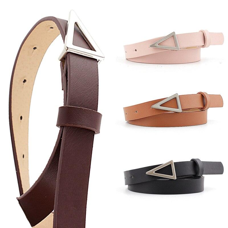 Cinturones de cuero PU de lujo de marca de aleación de plata triángulo Bucke pantalones vaqueros colores caramelo Cinturón fino de mujer