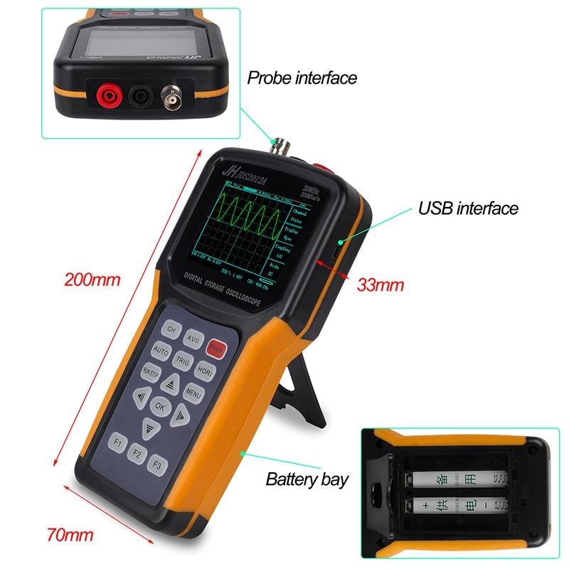 200MSa/s 3.0 - 4.9Inches Screen Professional Digital Oscilloscope Sampling Rate 20MHz Diode measurements JH JDS2012A