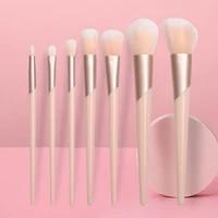 7pcs set champagne makeup brushes set for cosmetic foundation powder blush eyeshadow kabuki blending make up brush beauty tool