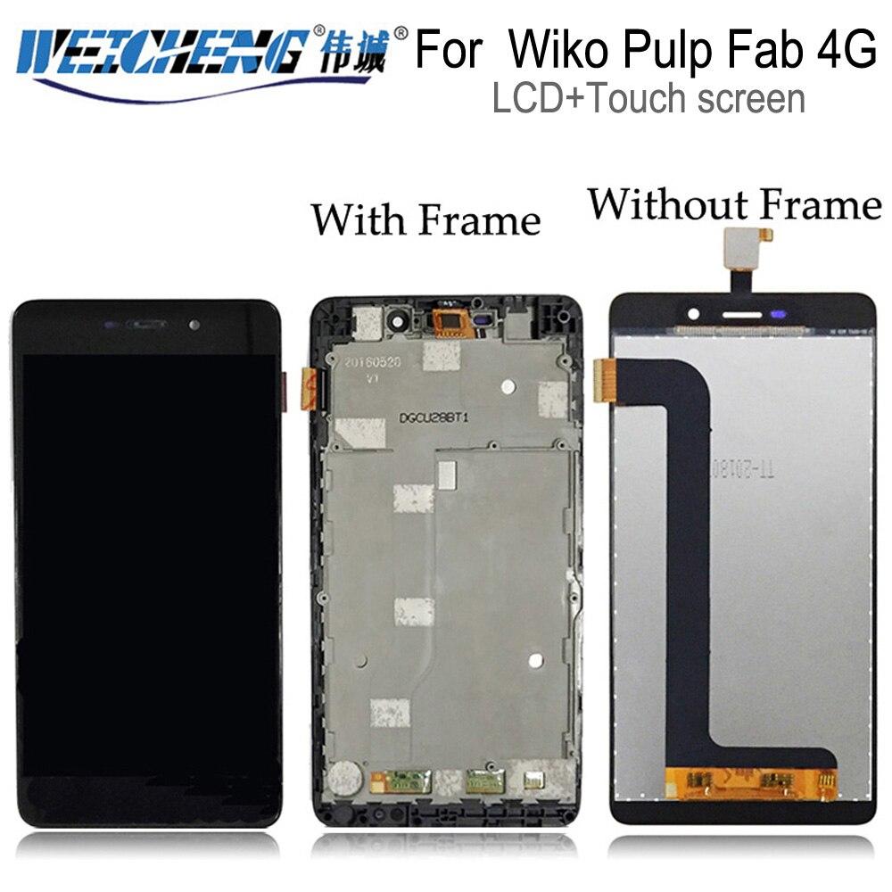 Weicheng para wiko polpa fab 4g display lcd + montagem da tela de toque com quadro para polpa fab 4g lcd digitador slide 2 + ferramentas gratuitas