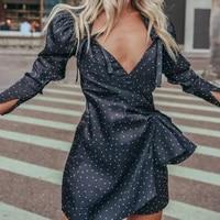 2021 new womens dress high waist lace up pleated skirt irregular commuting sexy low cut v neck puff sleeve polka dot dress