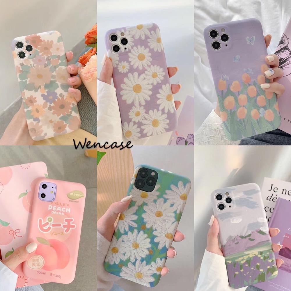 Para HUAWEI p30 p40 nova5 6 apple iPhone X XR XS MAX 11 pro max 7PLUS 8PLUS púrpura funda flor Linda funda protectora suave