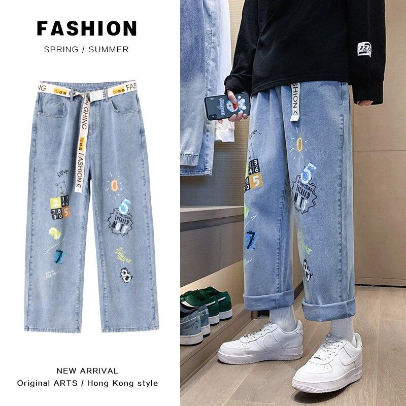 2021 джинсы мужские свободные прямые брюки с эластичной резинкой на талии, Молодежная яркость удобные модные повседневные универсальные шир...