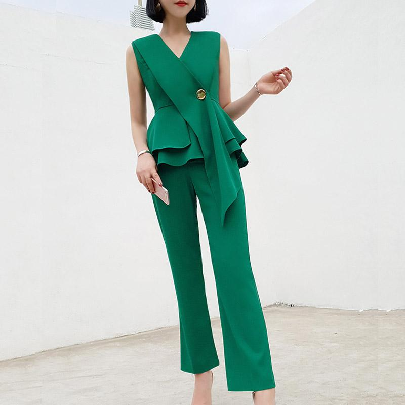 COCOEPPS Womens Summer New Office Lady Set Temperament Fashion Professional V-Neck Ruffled Slim Sleeveless top + casual pants
