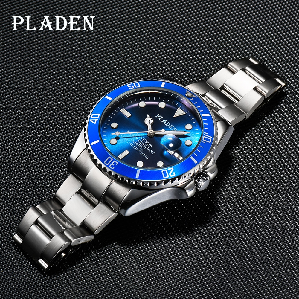 PLADEN Top Brands Men's Watches Relojes Luminous Stainless Steel Watch Waterproof Luxury Brand Young