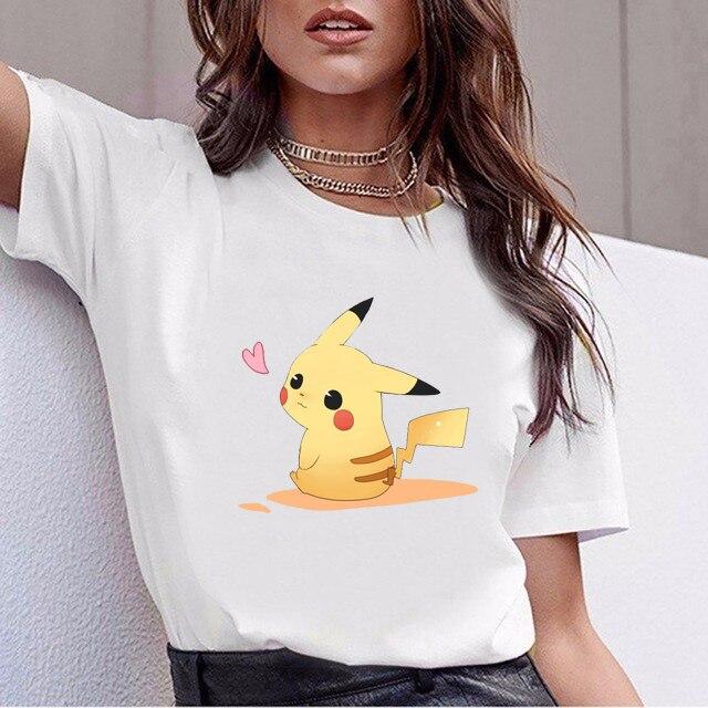 Pokemon Go Kawaii Pikachu Harajuku T Shirt Women Ullzang Funny Anime T-shirt 90s Cute Cartoon Tshirt Korean Style Top Tee Female