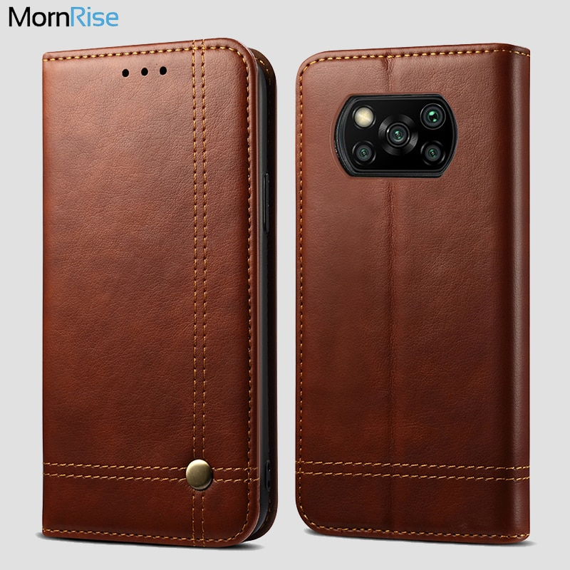 Luxury Retro Leather Flip Cover For Xiaomi MI Poco X3 NFC Case Wallet Card Stand Magnetic Book Cover