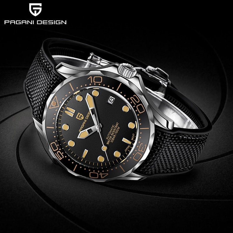 PAGANI DESIGN New Fashion Brand Silicone Men's Automatic Watches Top 007 Commander Men Mechanical Wristwatch Japan NH35A Watches