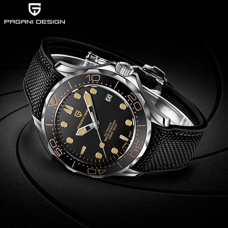 PAGANI تصميم موضة جديدة العلامة التجارية سيليكون ساعات أوتوماتيكية للرجال أعلى 007 قائد الرجال ساعة اليد الميكانيكية اليابان NH35A الساعات