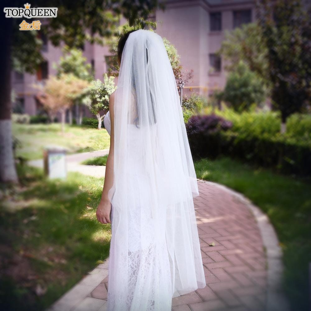 TOPQUEEN V25 2 layer Wedding Veils for Brides Fingertip Length Wedding Veil Medium Length White Ivory Wedding Veils with Comb fingertip veil with small flowers