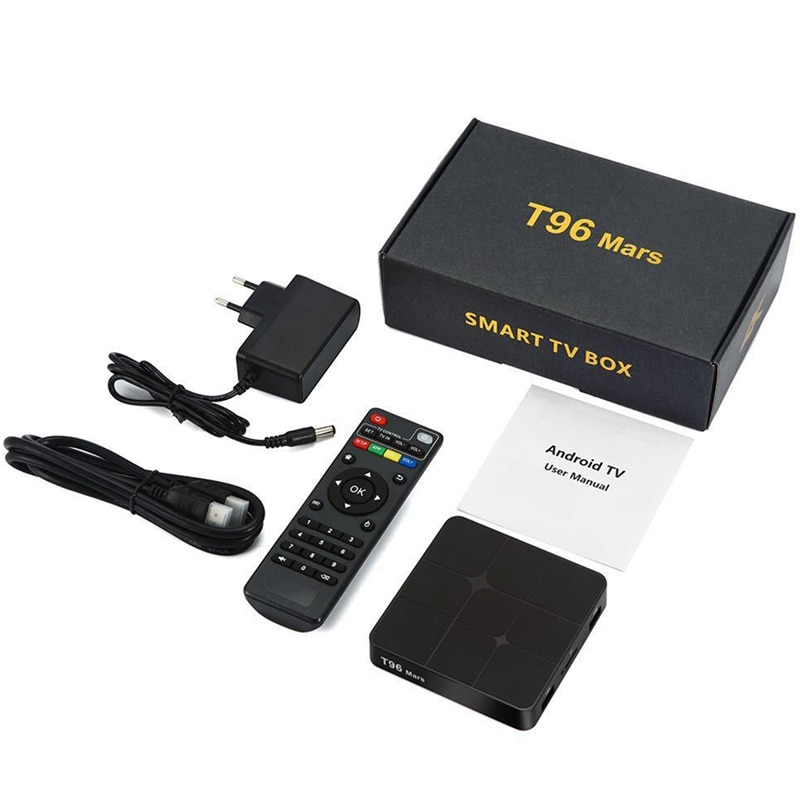Jakość T96 Mars Android 7.1.2 TV, pudełko Amlogic S905W 2G + 16G 2.4GHz 4K HD H265 zestaw odtwarzacza multimedialnego Bluetooth 2.1 WiFi (wtyczka EU