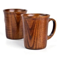 300 400ml new product mug with handle wooden beer tea coffee milk cup for kitchen bar set handle cup