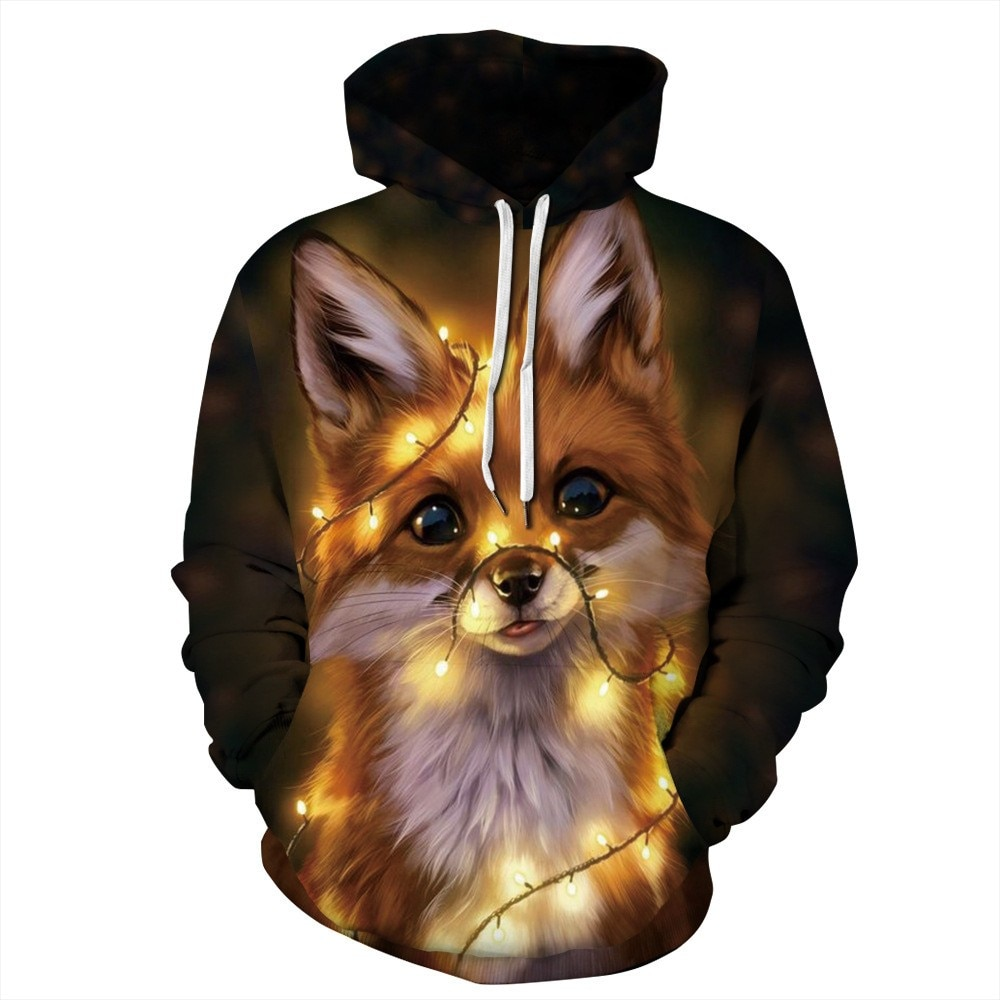 Spring and Autumn Fashion 3D Cute Animal Graphic Hoodie Pullover Unisex Sweatshirt Hip Hop Long Slee