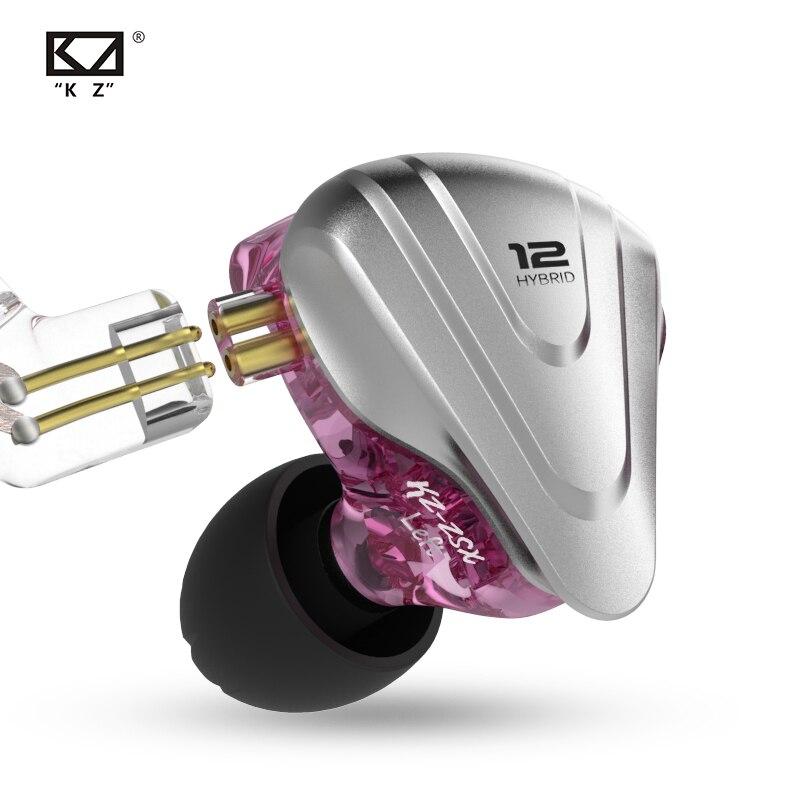 KZ ZSX سماعات أذن من المعدن 5BA + 1DD تكنولوجيا هجينة 12 سائق HiFi باس سماعات داخل الأذن سماعات إلغاء الضوضاء