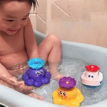 Cute Cartoon Octopus/Ship Baby Bath Toy Electric Rotating Spraying Water Toy for Infant Bathroom Bathtub Kids Gift