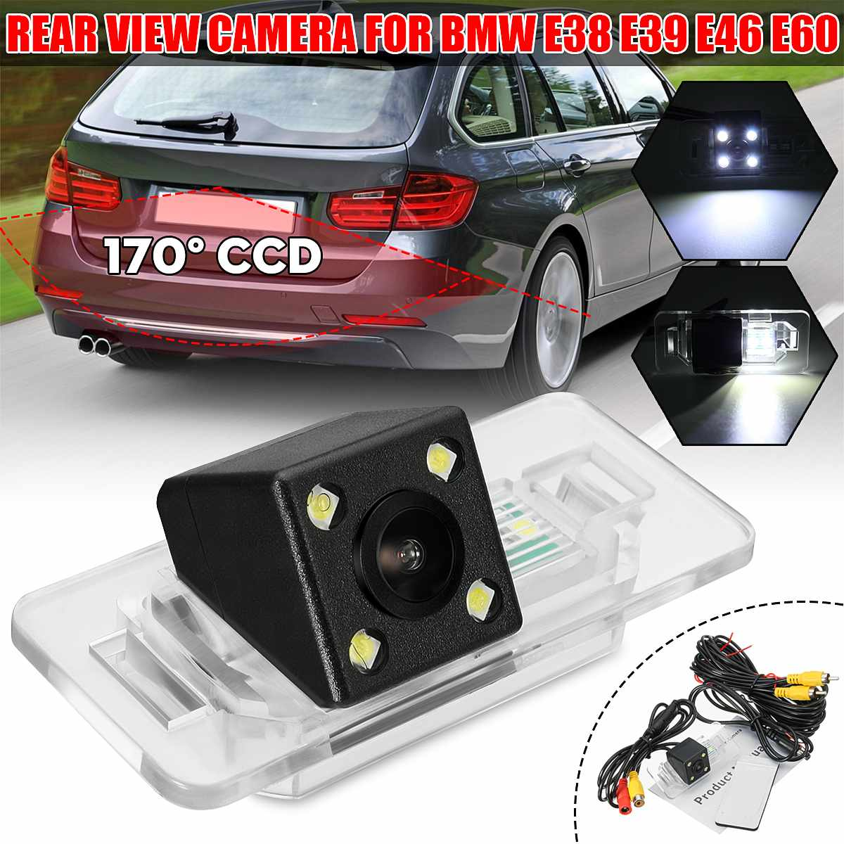 Cámara de visión nocturna CCD de 170 °, cámara de respaldo de marcha atrás, cámara de visión trasera para BMW 1, 3, 5 Series, X5, X6, E39, E46, E60, E65, E66, E90, E91, E92
