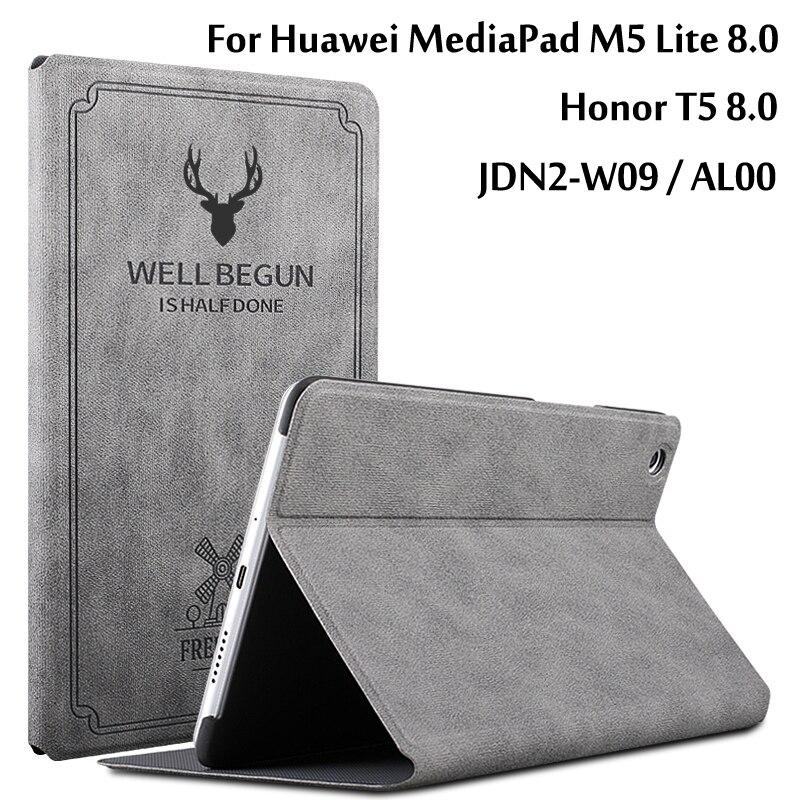 Чехол для Huawei MediaPad M5 Lite 8 JDN2-W09/AL00 8,0 дюйма, тонкий откидной Чехол-подставка из искусственной кожи, чехол для Huawei Honor T5 8,0, чехол для планшета чехол