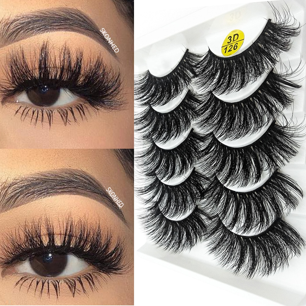 5 par/set 3D pelo falso de visón pestañas postizas esponjosas pestañas largas naturales hechas a mano pestañas falsas herramienta de extensión de maquillaje de ojos